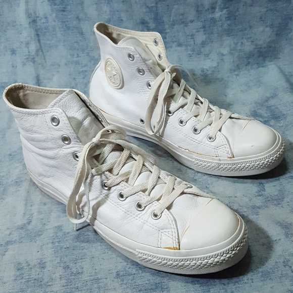 Converse White Mono Leather Chucks Mens 11 Vintage